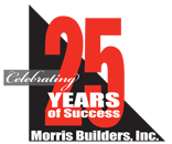 Morris Builders 25 Years Logo